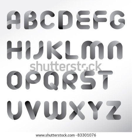 modern three dimension alphabet set - stock vector