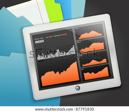 Modern touch gadget with graphics of income - stock vector