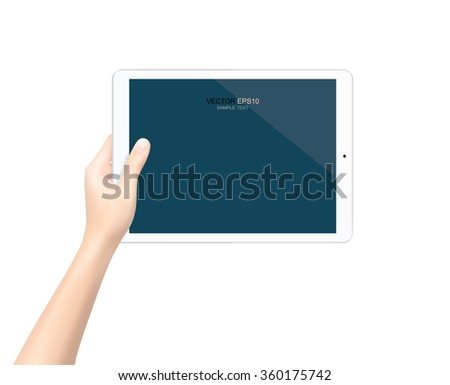Modern touch screen tablet in hand with blank screen area for copy space. Vector illustration.