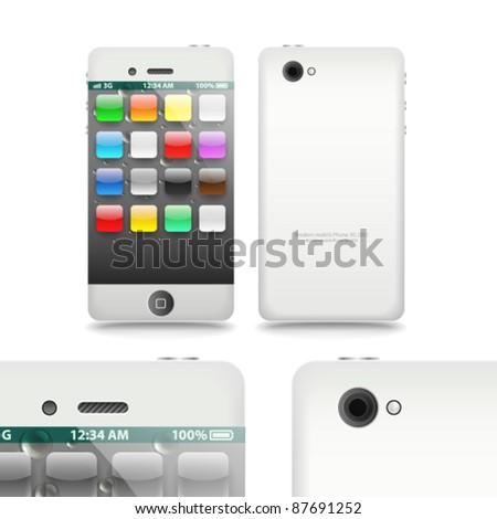 Modern touchphone gadget vector illustration template - stock vector