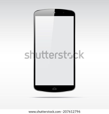Modern touchscreen android phone cellphone tablet smartphone isolated on light background.  Empty screen - stock vector