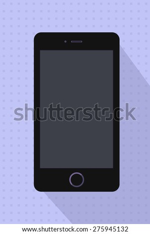 Modern touchscreen black mobile phone on blue retro background. Vector  illustration. Smartphone with empty screen. Cellphone mockups with black blank screen. Game and application mockup smart phone. - stock vector