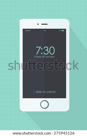 Modern touchscreen white mobile phone on turquoise retro background. Vector  illustration. Smartphone with screen and clock. Cellphone mockups with black  screen.  - stock vector