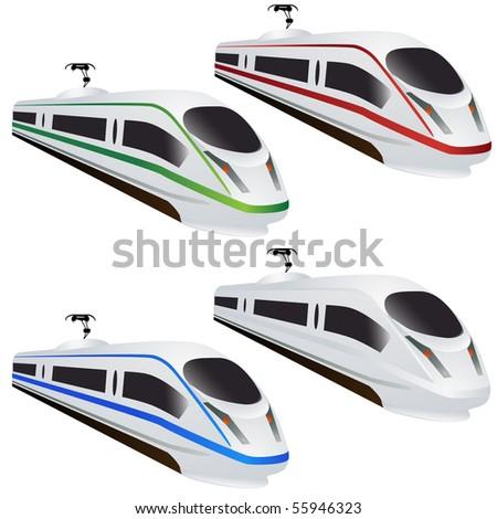 Modern train set isolated on white - stock vector