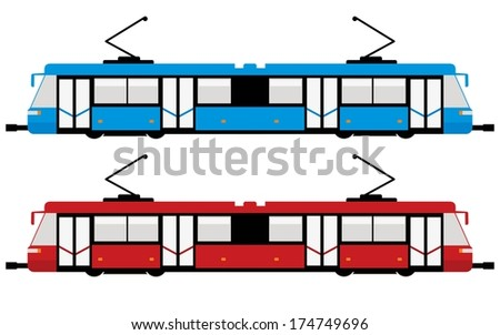 modern tram, blue and red color  - stock vector
