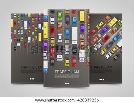 Modern transport vertical banners. Road flyer set. Traffic jam infographics. template design element, Vector illustration - stock vector