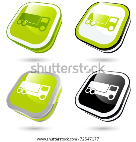 modern transportation sign collection in 3D - stock vector