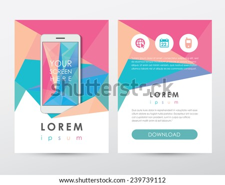 modern trendy abstract polygonal geometric style flyer, brochure template set for mobile technology business- colorful triangular pattern - stock vector
