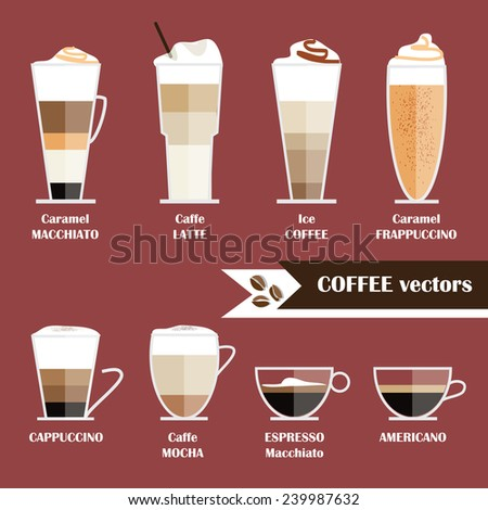 modern trendy flat style icon illustrations of coffee types collection menu isolated on marsala color background - stock vector