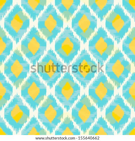 Modern tribal ikat blue yellow fashion seamless pattern - stock vector