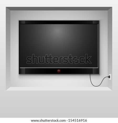 Modern TV hanging in wall niche vector illustration. - stock vector