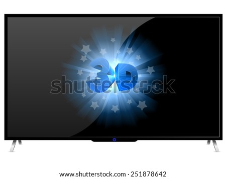 Modern TV set with 3D sign isolated on white background. - stock vector