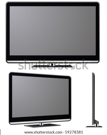 Modern TV vector set. Electronics vector collection. - stock vector