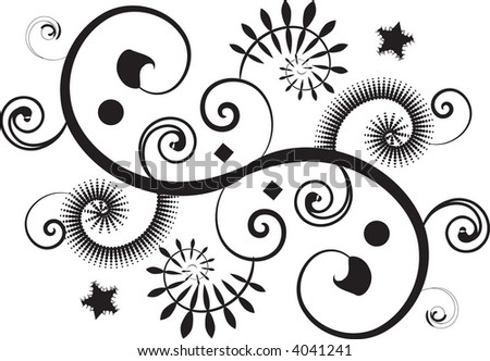 Modern twist floral spiral design in vector format. - stock vector
