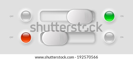 modern ui elements - switches and LED lights, vector illustration, eps 10 with transparency - stock vector