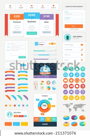 Modern UI flat vector kit webdesign. Adaptive web elements. Buttons, forms, interface elements, icons, audio player,sing up form, login form, price plans, video player, map, pin elements, user profile - stock vector
