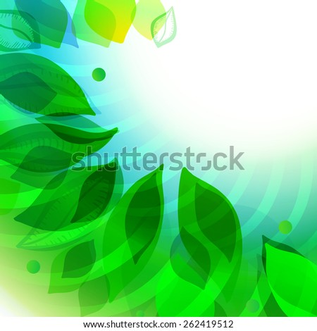 Modern unfocused spring leaves background. Abstract blurred illustration. Eco friendly website and banner design elements.  - stock vector