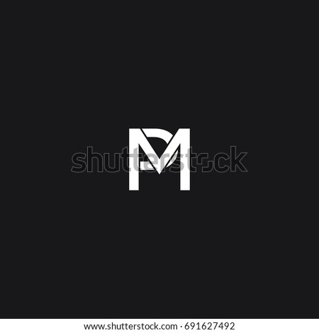Modern Unusual Creative Connected Artistic Black And White Color MP PM M P Initial Based Letter Icon