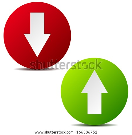 Modern up-down arrow graphics on white (circle version) - stock vector