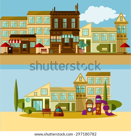 Modern urban flat vector buildings compositions. Ideal layout for your design, polygraphic, textile - stock vector