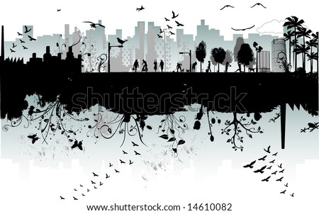 modern urban scene : the two sides of the city - various elements in vector format - stock vector