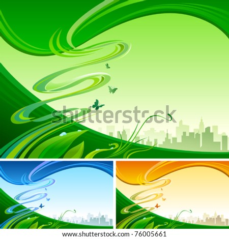 Modern Urban Silhouette and Abstract Background