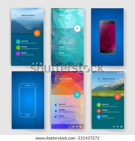 Modern user interface (ux, ui) screen template for mobile smart phone or web site. Transparent blurred material design ui with icons.  - stock vector