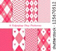 Modern Valentine Day Backgrounds. 8 Seamless Chevron and Argyle Patterns with Hearts in Deep Pink. Pattern Swatches Included. Global colors - makes it easy to change all patterns in one click. - stock vector