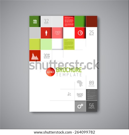 Modern Vector abstract brochure / book / flyer design template - red and green version - stock vector