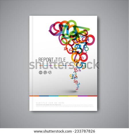 Modern Vector abstract brochure / book / flyer design template with numbers - stock vector