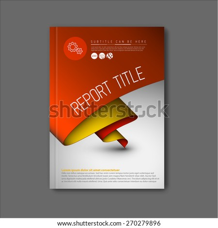 Modern Vector abstract brochure / book / flyer design template with yellow and red paper - stock vector