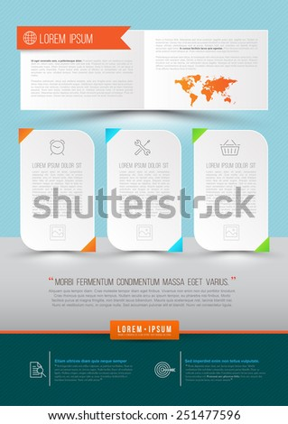 Modern Vector abstract brochure, report, document or flyer design, magazine cover, poster template. Vector illustration. - stock vector