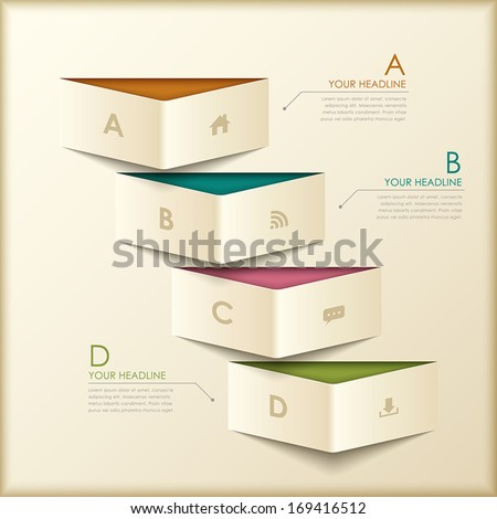 modern vector abstract 3d origami banner infographic elements - stock vector