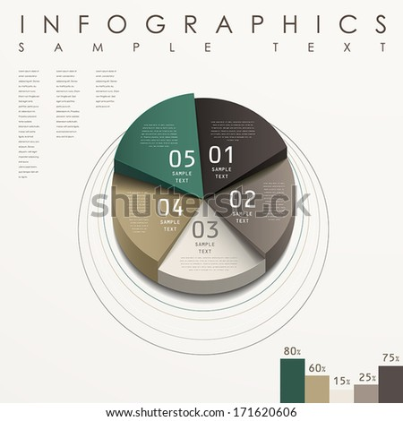 modern vector abstract 3d pie chart infographic elements - stock vector