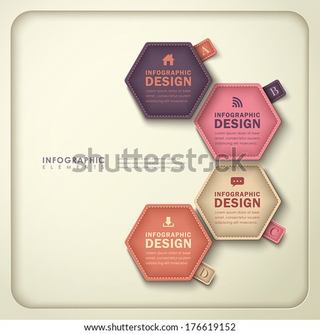 modern vector abstract hexagonal tag infographic elements - stock vector