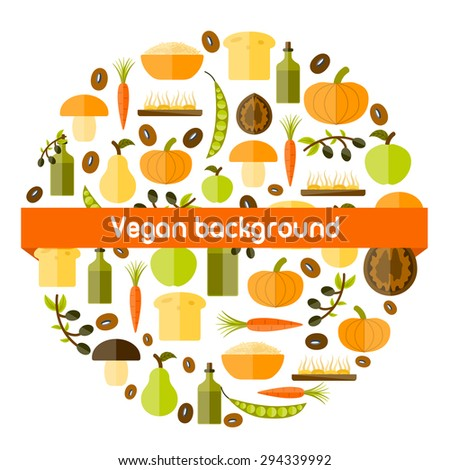 Modern vector background in circle shape with objects in flat shadow style on vegan food theme: fruit, vegetable, mushroom, soy, bean, oil, nut, bread, rice. Raw healthy food or vegan concept. Great - stock vector