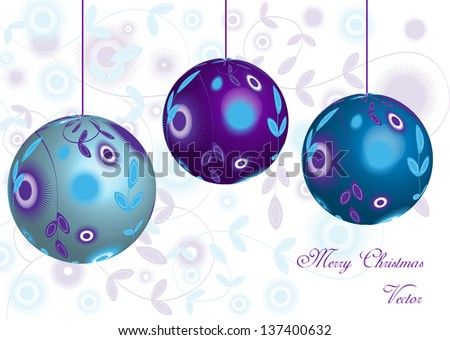 modern vector background with decorative christmas balls with ornaments and place for your text - stock vector