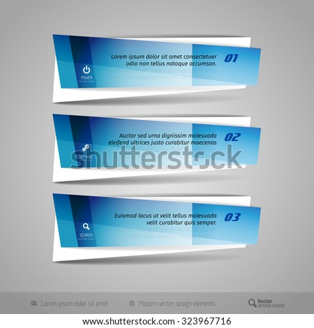 Modern vector banners as glossy design elements for infographics, print layout, web pages. - stock vector