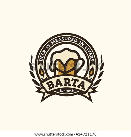 Lieblich Modern Vector Beer Logo For Cafe Bar