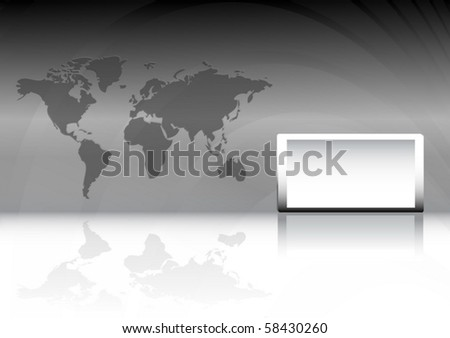 Modern vector   business background with text box and world map - stock vector