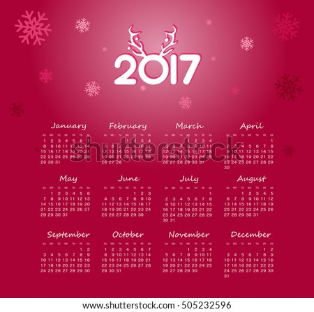 Modern vector Calendar 2017 year. Week Starts Sunday, eps 10