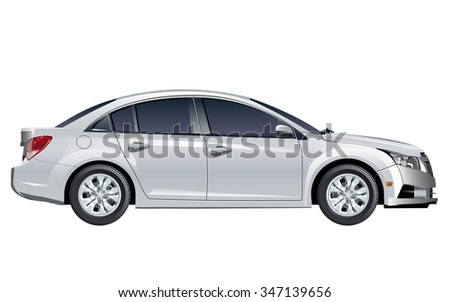 Modern Vector Car. Available EPS-10 vector format separated by groups and layers with transparency effects for one-click repaint - stock vector