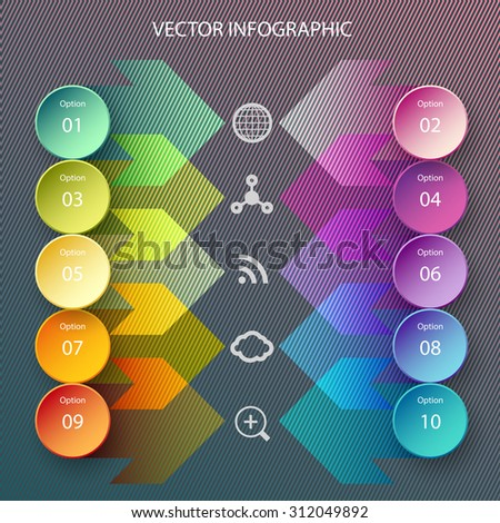 Modern vector circle and arrows infographic elements in bright colors - stock vector