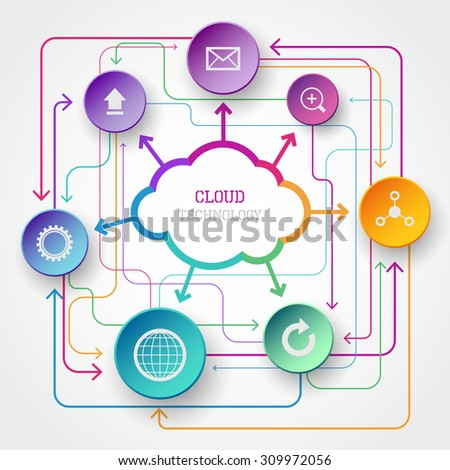 Modern vector cloud infographic with circle elements in bright colors - stock vector