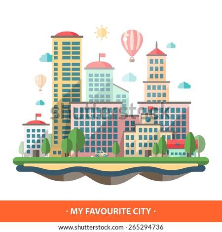 Modern vector flat design conceptual city illustration - stock vector