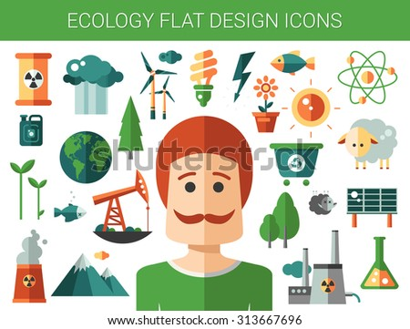 Modern vector flat design conceptual ecological icons and infographics elements - stock vector
