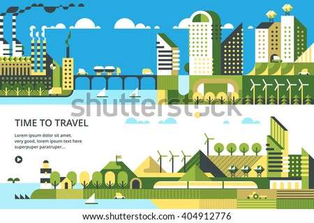Modern vector flat design conceptual ecological illustration. Wind energy. Solar energy.