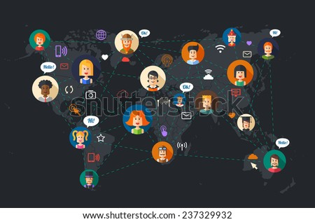 Modern vector flat design illustration of people social network community - stock vector