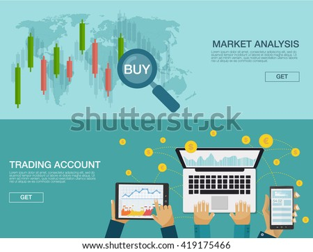 Modern vector flat illustration background. Market trade. Trading platform and account. Moneymaking, business. Market analysis. Investing. UI for business app. User interface and Infographic elements. - stock vector