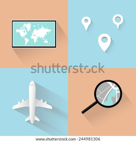 Modern vector  flat style elements for tourism industry: airplane, map of world, destenation.  Isolated on stylish color background. - stock vector